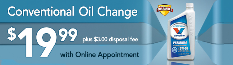 Conventional Oil Change includes filter and up to 5 quarts of conventional motor oil. Price subject to change. Other oils available at additional cost. Charge for additional parts/service if needed. TPMS reset included. Most vehicles. Most locations.