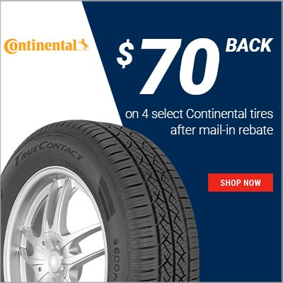 Get details about get $70 back on 4 select Continental tires after mail-in rebate. Offer valid 11/1/20 to 11/30/20.