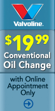 Conventional oil change $19.99 with online appointment only