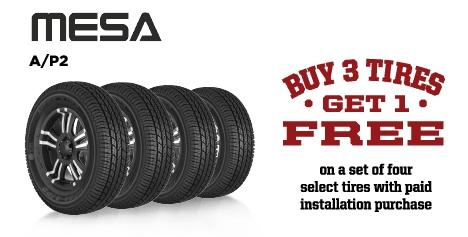 Buy 3 Mesa A/P2 Tires Get 1 Free