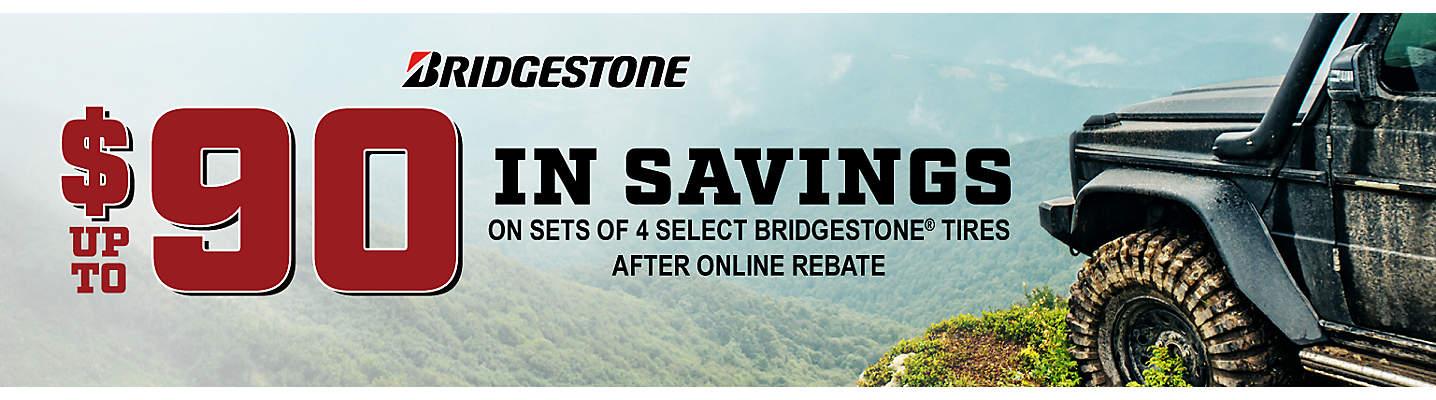 Bridgestone Up to $90 online rebate