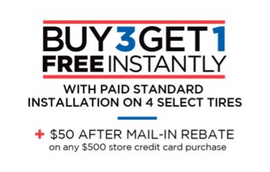 Buy 2 Get 2 Free With Purchase Of Value Installation Package On All 4 Tires