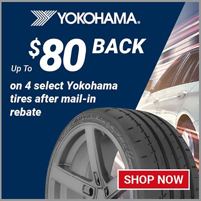 Up to $80 back on 4 select Yokohama tires after mail-in rebate. Offer valid 4/1/21 to 5/2/21.