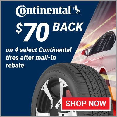 $70 back on 4 select Continental tires after mail-in rebate. Offer valid 6/1/21 - 6/30/21.