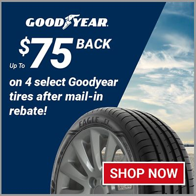 Up to $75 back on 4 select Goodyear® tires after mail-in rebate. Offer valid 1/1/21 to 3/31/21.