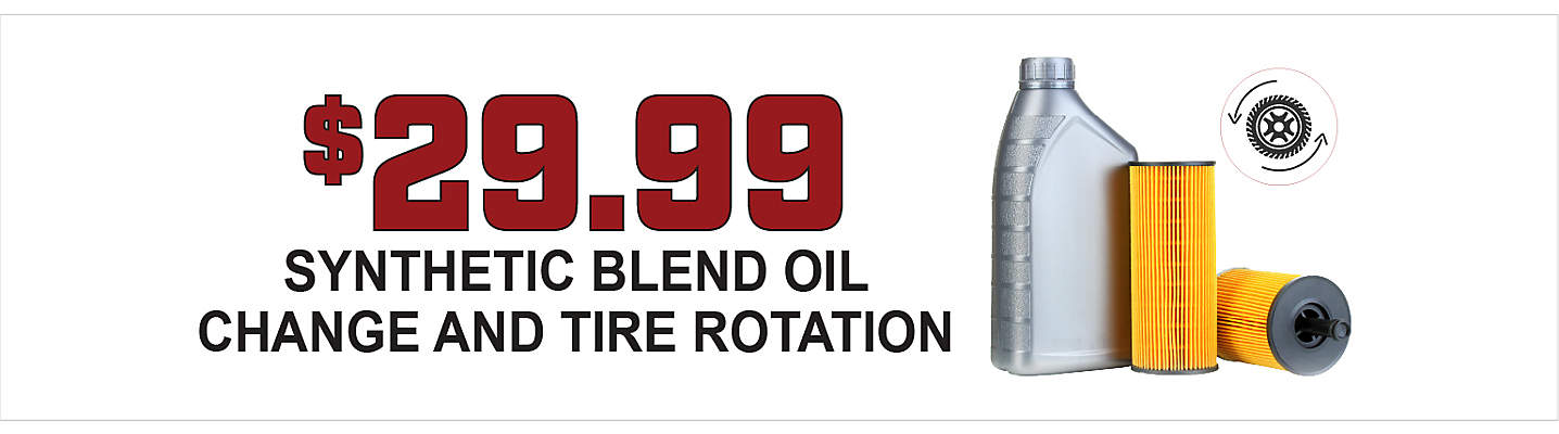 $29.99 Synthetic Blend Oil Change and Tire Rotation