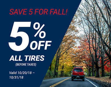 5% off ALL TIRES!