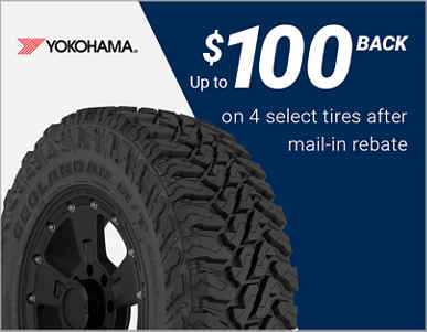 Up to $100 back on 4 select Yokohama® tires after mail-in rebate!