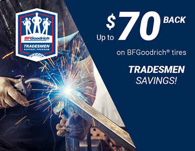 Tradesmen Saving: Up to $70 back on BFGoodrich Tires