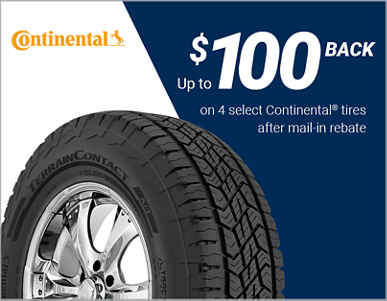Get up to $100 back via mail or online rebate on Continental tires