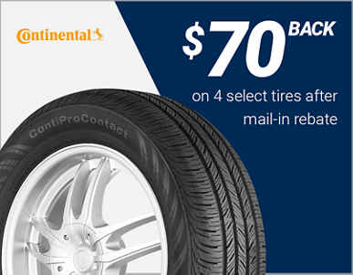 $70 back on 4 select Continental® tires!