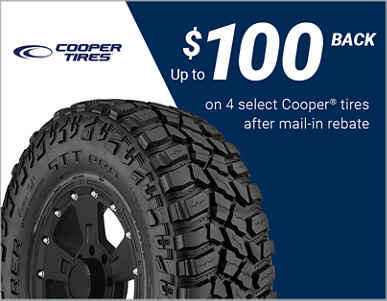 Up to $100 back on 4 select Cooper tires