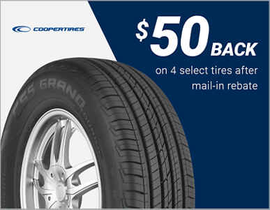 $50 back on 4 select Cooper® tires!
