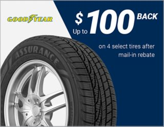 Get up to $100 back on 4 select Goodyear® tires via mail-in rebate.