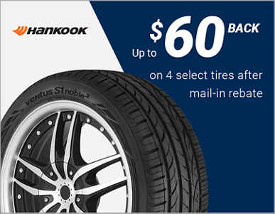 Up to $60 back on 4 select Hankook® tires!