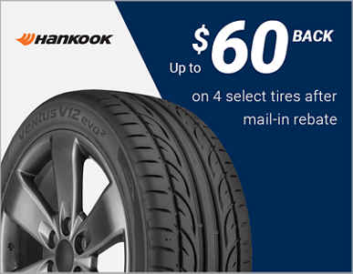 Up to $60 back on 4 select Hankook® tires after mail-in rebate!