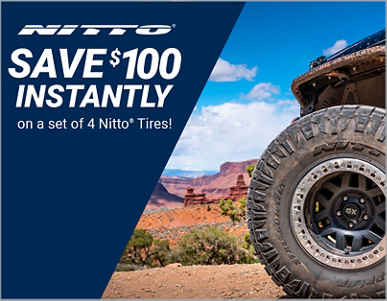 Save $100 Instantly on 4 Select Nitto Tires