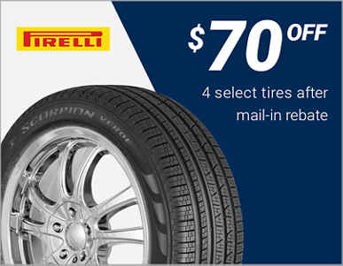 $70 off 4 select Pirelli® tires after mail-in rebate!