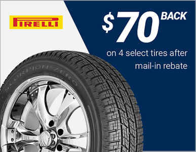 $70 back on 4 select Pirelli® tires!