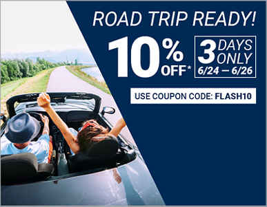 3 Days Only! 6/24-6/26. 10% Off Tires with Coupon FLASH10.