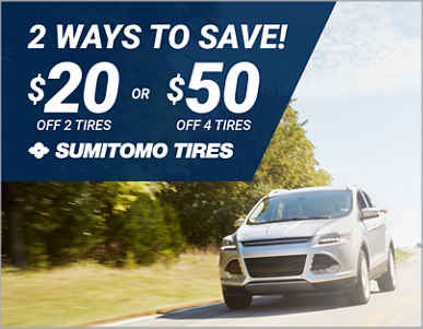 $20 off a set of 2 or $50 off a set of 4 Sumitomo® tires!