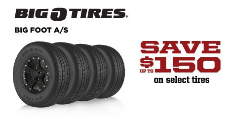 Save up to $150 on Big O Big Foot A/S tires
