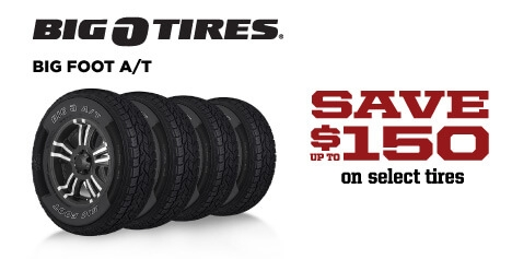 Save up to $150 on Big O Big Foot A/T Tires