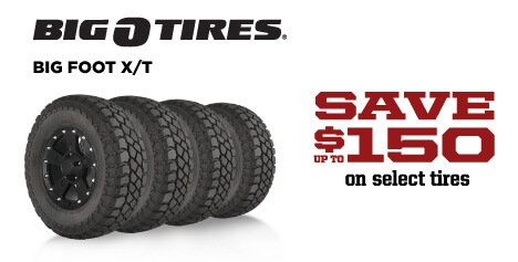Save up to $150 on Big O Big Foot X/T Tires