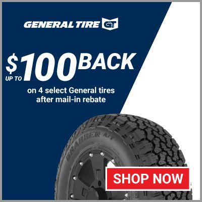 Up to $100 back on 4 select General tires after mail-in rebate
