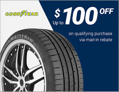 Up to $100 off 4 select Goodyear® tires after mail-in rebate!