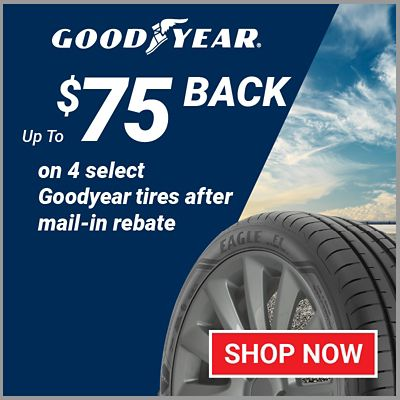 Up to $75 back on 4 select Goodyear tires after mail-in rebate.