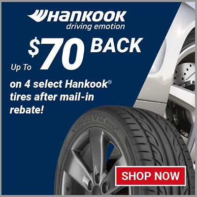 Up to $70 back on 4 select Hankook tires after mail in rebate. Offer valid 3/19/21 to 5/8/21.