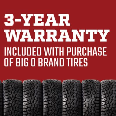3-year warranty included with purchase of Big O Brand Tires