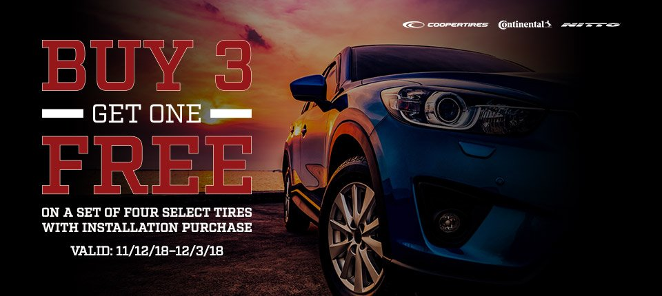 Buy 3 get one free on a set of four select tires with installation purchase***
