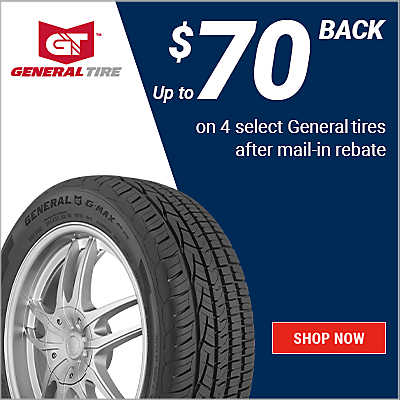 Up $70 back on 4 select General tires after mail-in rebate. Valid 3/1/21 to 4/30/21.